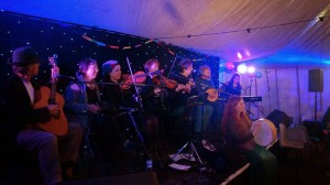 Sound Travels Starcloth behind a ceilidh band