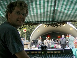 John at Eden Festival Main Stage sound desk