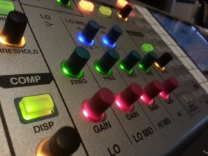 EQ controls on the Roland M400 Digital Mixing Desk
